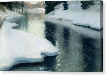 Spring Thaw Canvas Print by Fritz Thaulow