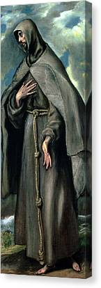 St Francis Of Assisi Canvas Print by El Greco Domenico Theotocopuli