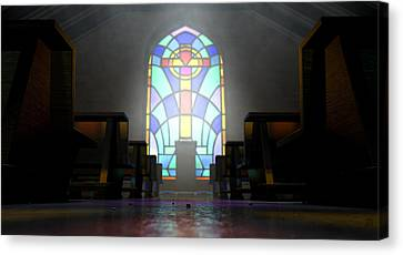 Stained Glass Window Church Canvas Print by Allan Swart