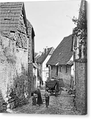 Canvas Print featuring the photograph Street Scene Heidelberg Germany 1903 by A Gurmankin