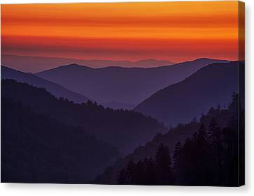 Sunset In The Smokies Canvas Print by Andrew Soundarajan