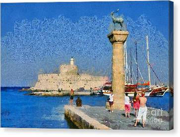 Taking Pictures At The Entrance Of Mandraki Port Canvas Print by George Atsametakis