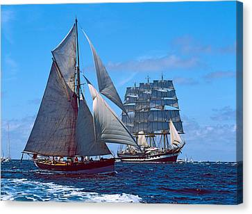 Tall Ship Regatta In The Baie De Canvas Print by Panoramic Images