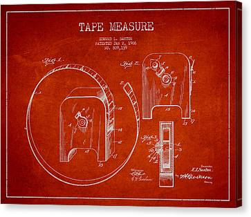 Tape Measure Patent Drawing From 1906 Canvas Print by Aged Pixel
