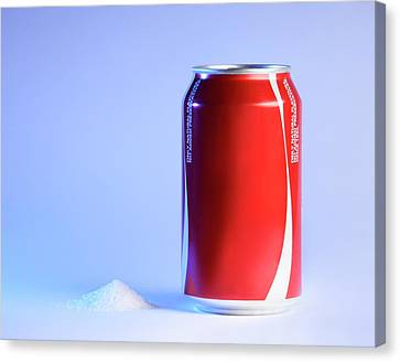 Teaspoon Of Sugar With Can Of Fizzy Drink Canvas Print by Cordelia Molloy