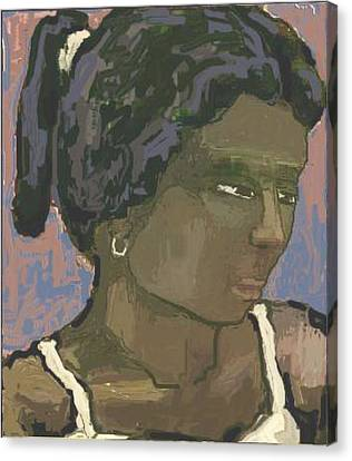 The Woman With The White Barrette Canvas Print by Pemaro