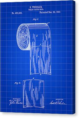 Toilet Paper Roll Patent 1891 - Blue Canvas Print by Stephen Younts