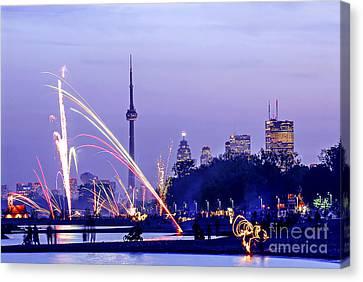 Toronto Fireworks Canvas Print by Elena Elisseeva