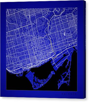 Toronto Street Map - Toronto Canada Road Map Art On Color Canvas Print by Jurq Studio