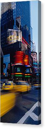 Traffic On A Street, Times Square Canvas Print by Panoramic Images