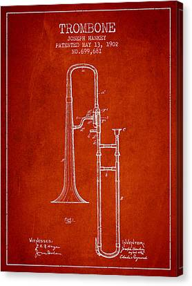 Trombone Patent From 1902 - Red Canvas Print by Aged Pixel