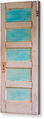 Turquoise Doorway And Ladder To The Sky Canvas Print by Asha Carolyn Young