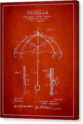 Umbrella Patent Drawing From 1912 Canvas Print by Aged Pixel
