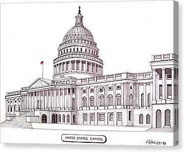 United States Capitol Canvas Print by Frederic Kohli