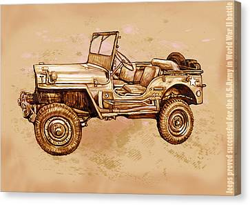 Us Army Jeep In World War 2 - Stylised Modern Drawing Art Sketch Canvas Print by Kim Wang