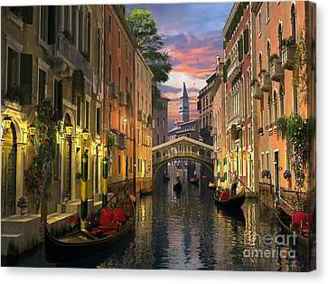 Venice At Dusk Canvas Print by Dominic Davison