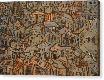 View Of Town Canvas Print by Oscar Penalber