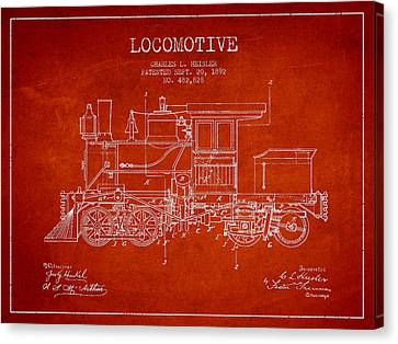 Vintage Locomotive Patent From 1892 Canvas Print by Aged Pixel
