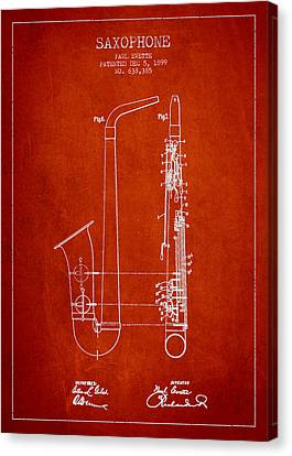 Saxophone Patent Drawing From 1899 - Red Canvas Print by Aged Pixel