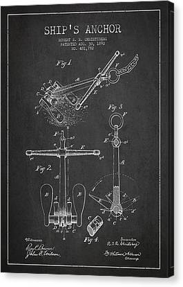 Vintage Ship Anchor Patent From 1892 Canvas Print by Aged Pixel