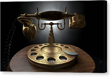 Vintage Telephone Dark Isolated Canvas Print by Allan Swart