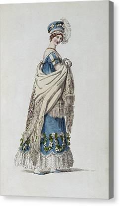 Walking Dress, Fashion Plate Canvas Print by English School