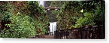 Waterfall In A Forest, Multnomah Falls Canvas Print by Panoramic Images