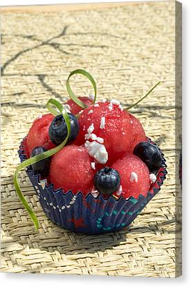 Watermelon Blueberry And Goatcheese Canvas Print by Iris Richardson