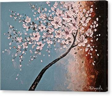 Mothers Day Gift Ideas Canvas Print featuring the painting White Blossoms by Tomoko Koyama