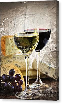 Wine And Cheese Canvas Print by Elena Elisseeva