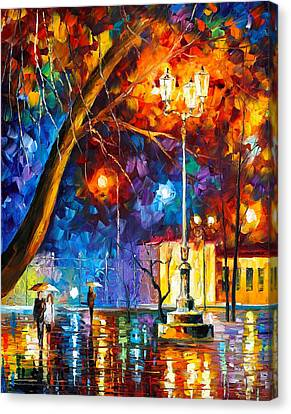Winter Rain Canvas Print by Leonid Afremov
