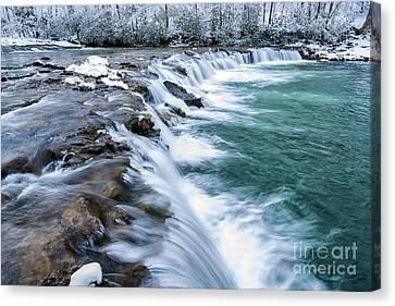 Winter Waterfall Canvas Print by Thomas R Fletcher
