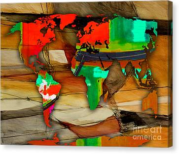 World Map Watercolor Canvas Print by Marvin Blaine