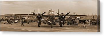 World War II B-25 Bomber Briefing Time  Canvas Print by Angelo Rolt