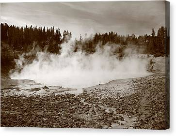 Yellowstone National Park - Mud Pots Canvas Print by Frank Romeo