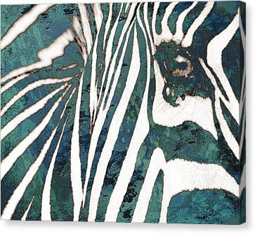 Zebra Art Stylised Drawing Art Poster Canvas Print by Kim Wang