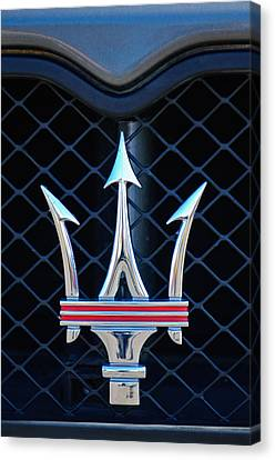 2005 Maserati Gt Coupe Corsa Emblem Canvas Print by Jill Reger