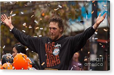 2014 World Series Champions San Francisco Giants Dynasty Parade Sergio Romo 5d29766 Canvas Print by Wingsdomain Art and Photography