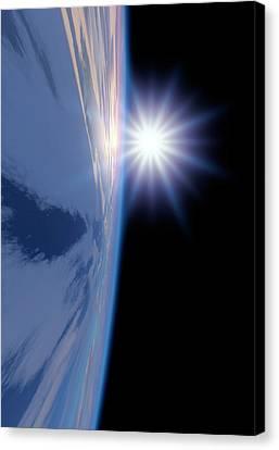 Earth-like Alien Planet Canvas Print by Detlev Van Ravenswaay