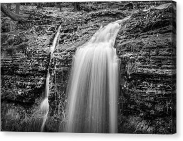 Waterfalls George W Childs National Park Painted Bw   Canvas Print by Rich Franco