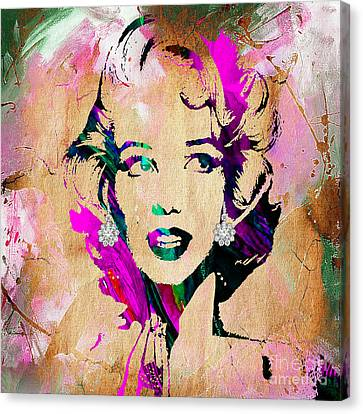 Marilyn Monroe Diamond Earring Collection Canvas Print by Marvin Blaine