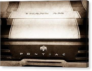 1969 Pontiac Trans Am Tail Fin Emblem Canvas Print by Jill Reger