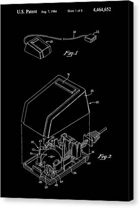Apple Mouse Patent 1984 - Black Canvas Print by Stephen Younts