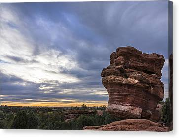Balanced Rock At Sunrise - Garden Of The Gods - Colorado Springs Canvas Print by Brian Harig