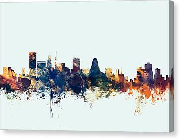 Baltimore Maryland Skyline Canvas Print by Michael Tompsett