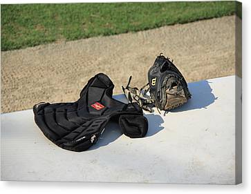 Baseball Glove And Chest Protector Canvas Print by Frank Romeo