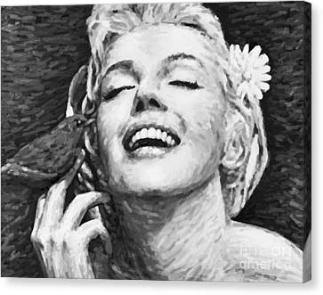 Beautifully Happy In Black And White Canvas Print by Atiketta Sangasaeng