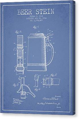 Beer Stein Patent From 1914 - Light Blue Canvas Print by Aged Pixel