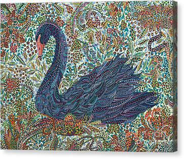 Black Swan  Canvas Print by Erika Pochybova