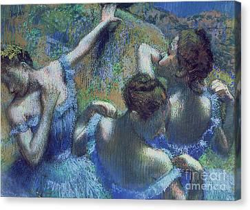 Blue Dancers Canvas Print by Edgar Degas